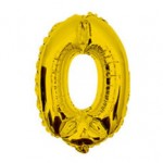 """16"""" Glossy Gold Number Foil Balloon 0"""