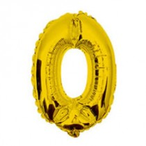 "16"" Glossy Gold Number Foil Balloon 0"