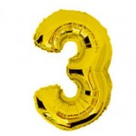 "16"" Glossy Gold Number Foil Balloon 3"