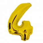 "16"" Glossy Gold Number Foil Balloon 4"
