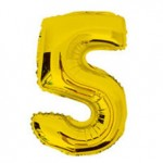 "16"" Glossy Gold Number Foil Balloon 5"