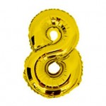 """16"""" Glossy Gold Number Foil Balloon 8"""