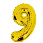 "16"" Glossy Gold Number Foil Balloon 9"