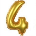 "16"" Matte Gold Number Foil Balloon 4"