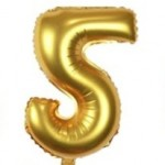 "40"" Gold Number Foil Balloon 5"