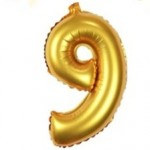 "16"" Matte Gold Number Foil Balloon 9"