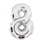 "16"" Silver Number Foil Balloon 8"
