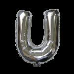 """32"""" Silver Letter Foil Balloon U"""