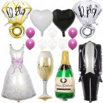 Groom Bride Wedding Dress Foil Balloons